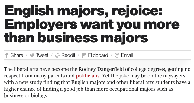 Headline: English majors rejoice